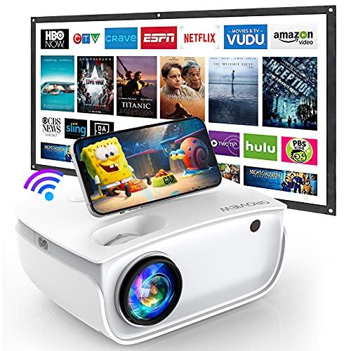 GROVIEW WiFi Beamer, 7000 Lumen Mini Video Beamer mit Bildschirm, 1080P Unterstützung, eingebaute HiFi Lautsprecher, mit ZOOM Funktion, 240' Display, kompatibel mit iPhone/Android/TV Stick/HDMI/USB