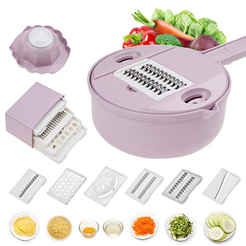 Jeslon Vegetable Mandoline Slicer  10 in 1 Vegetable Spiralizer Cutter and Shredder  Kitchen Multipurpose Julienne Grater with Guard and Egg white Separator  Low Carb Meals VeggieampFood Dicer
