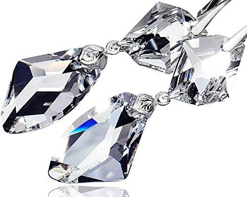 Einzigartige Ohrringe mit Swarovski-Kristallen, glänzend, 925er-Sterlingsilber, Zertifikat