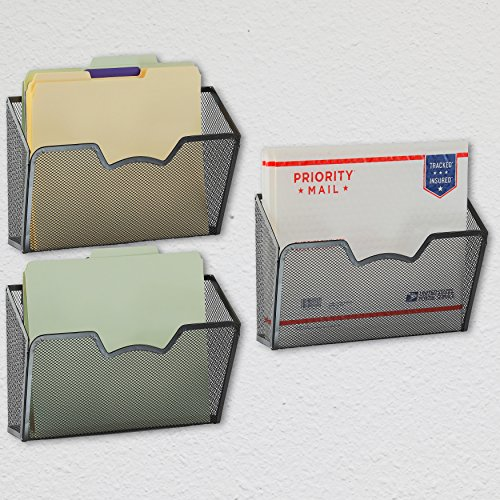 3 Pack - SimpleHouseware Wall Mount Single Pocket File Organizer Holder, Black