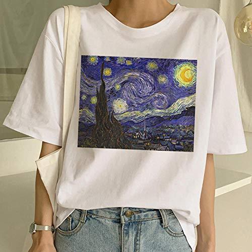 DFDONG Damen T-Shirt Van Sternenhimmel Gogh T-Shirt Kunst Malerei T-Shirt Frauen Lustige Print Kurzarm T-Shirt Harajuku T-Shirt Mode Top Tees Weiblich @ XL
