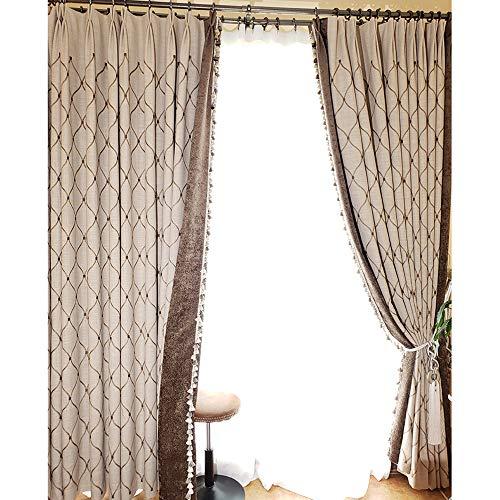 DANGGE Wohnzimmer aus Reiner Baumwolle Bestickt hochwertige graue Vorhänge