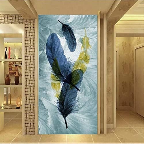 Wohnzimmer Schlafzimmer Moderne Hauptdekoration abstrakte Feder und bunten Schwan Leinwand Wandkunst rahmenlose Malerei 50x100cm