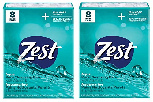 Zest Aqua Pure Cleansing Bar Soap 20% More Moisture 8 Count Pack of 2