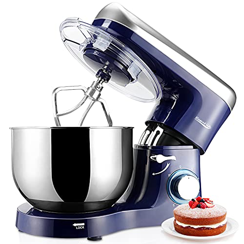 Elegant Life Stand Mixer, 6QT 6-Speed Tilt-Head Food Mixer, 660W Kitchen Electric Mixer with Dough Hook, Wire Whip, Beater & Egg White Separator, Indigo