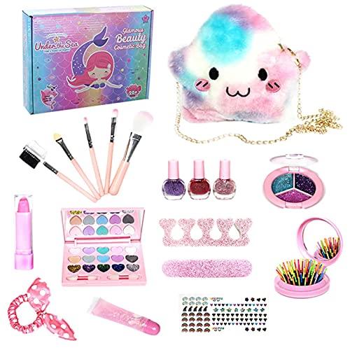 Houssem Juego de maquillaje para niños, maletín de maquillaje, juguete para niñas, lavable, para niños de 4 a 10 años de edad