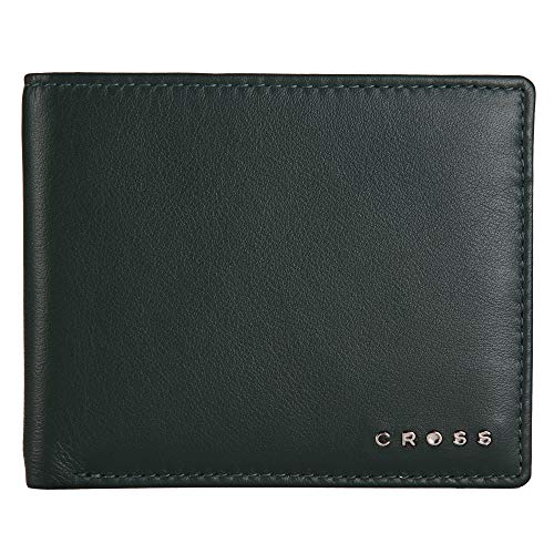 Cross Noble Express Branded Premium Men's Leather Slim Wallet with Proper Compartment for Card - Deep Green