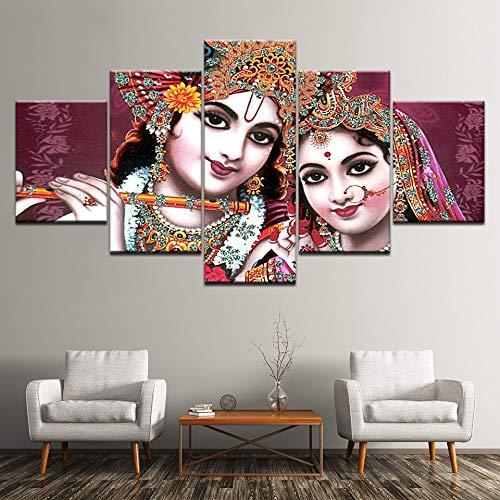CYZSH Pictures Modular Poster Hd Printing 5 Pieces India God Radha Krishna Canvas Painting Modern Living Room Wall Decor Art
