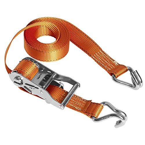 Master Lock 3211EURDAT Fast Link Spanngurt mit Ratsche und J-Haken, Orange, 4,5 m x 35 mm Gurt