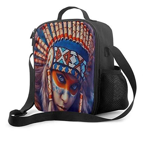 Native American Girl Indian Girl Isolierte wiederverwendbare Lunch-Tasche Lebensmittelbehälter Tragbare Lunch-Tasche Verstellbarer Gurt für die Arbeit in der Schule Büro Reisefischen