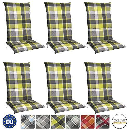 Beautissu 6er Set Sunny GR Hochlehner Auflagen Set für Gartenstühle 120x50 cm in Grün Kariert - Bequeme Gartenstuhl Stuhlkissen Polsterauflagen UV-Lichtecht