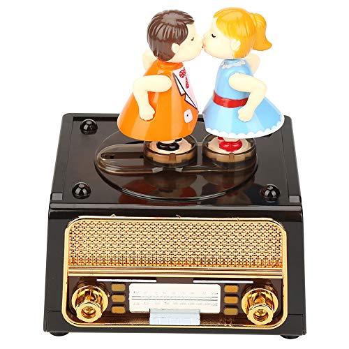 2 in 1 retro muziekdoos, radiovorm met mooie poppen + opbergkoffer, muziekdoos juwelendoos bureau decoratie Valentijnsdag huwelijksgeschenken