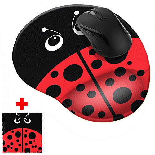 FINCIBO Red Ladybug Comfortable Wrist Support Mouse Pad for Home and Office with Matching Microfiber Cloth for Computer and Mobile Screens