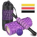 Foam Roller kit 4-in-1, Rullo in Schiuma, Rullo Massaggio, Bande Elastici Fitness [Set di 3], Palla...