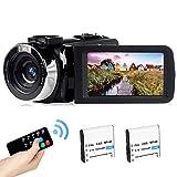 Videocámara 2,7K Cámara de Video de vlogging Recargable Luz de Relleno LED Pantalla giratoria LCD FHD 42MP 3,0 Pulgadas Videocámara con Control Remoto (BL)