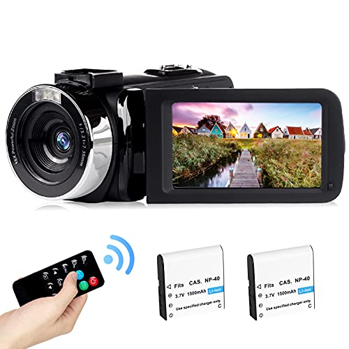 2,7K Videocamera per vlogging ricaricabile Luce di riempimento a LED Schermo ruotabile LCD da 3,0 pollici 30FPS FHD 42MP Videocamera con telecomando (BL)