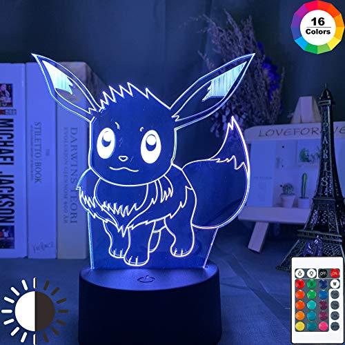 KangYD 3D Optische Täuschung Lampenspiel Pokemon Go Eevee, LED Nachtlicht, E - Alarm Clock Base (7 Farbe), Raumbeleuchtung, Modernes Dekor, Kinderlampe, Weihnachtsgeschenk