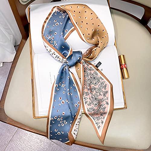 SHIYONG Dame tête Bande de Cheveux écharpes Foulard Femme Petit Foulard carré en Soie Femmes étroit Long léopard rayé Mouchoir