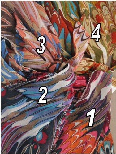Tied festonné Multi Couleur Design Tissu headwrap. en 4 coloris.