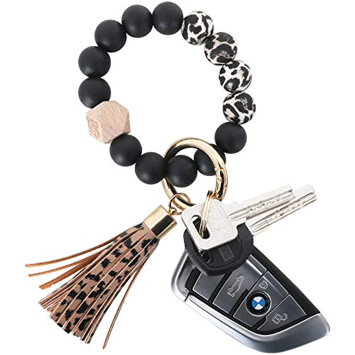 Silicone Key Ring Bracelet - Women Beaded Elastic Wristlet Keychain with Tassel, Bangle Keychain for Women Portable House Car Keys Ring Holder (Silicone beaded keychain Leopard)