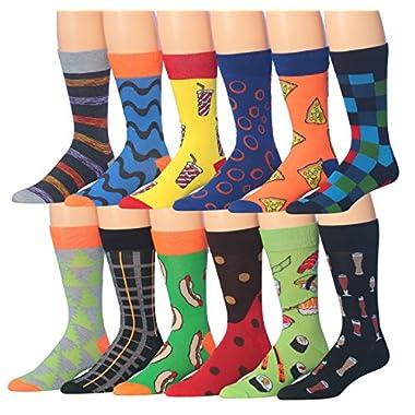 James FialloMen's 12 Pairs Novelty Colorful Patterned Funky Dress Socks, Fits shoe 6-12 (sock size 10-13), M179-12