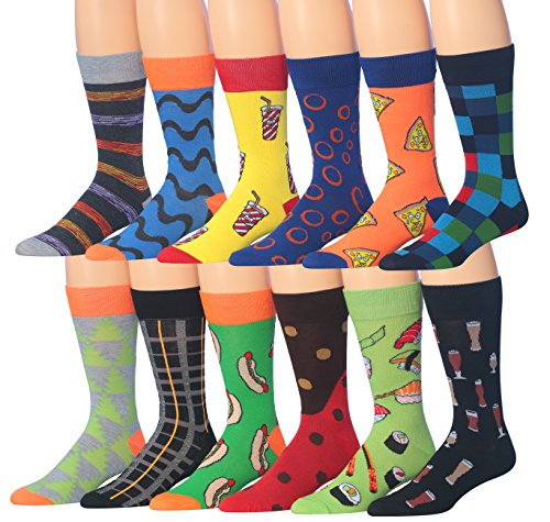 Image of the James FialloMen's 12 Pairs Novelty Colorful Patterned Funky Dress Socks, Fits shoe 6-12 (sock size 10-13), M179-12