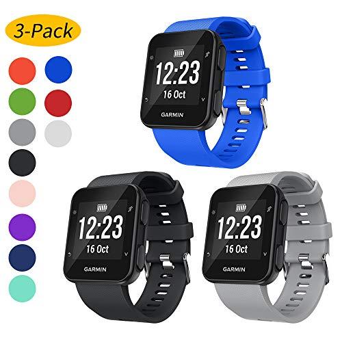 Ansblue Armband für Garmin Forerunner 35 Smartwatch, weiches Silikon Ersatz Fitness-Armband, Sport-Armband Zubehör kompatibel mit Forerunner 35 Smartwatch, mehrfarbig, Black+Gray+Blue