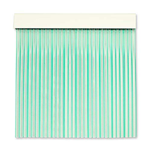 Cortinas Exterior Puerta | Material Plastico PVC y Barra Aluminio | Ideal para Terraza y Porche | Antimoscas | Transparente-Verde | 210 * 90