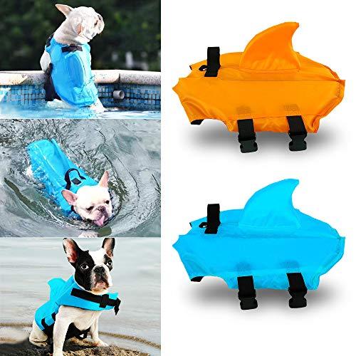 HanDingSM Chaleco salvavidas del animal doméstico,Chalecos salvavidas para perros,Perros pequeños Shark Pattern Dog Life Jacket (S, Azul)