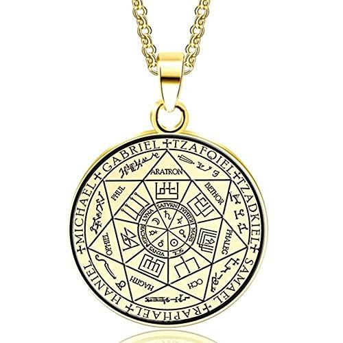 AMOZ Gargantilla con Colgante de Seals Of The Seven Archangels, Collar de Acero Inoxidable Plateado para Hombres, Mujeres, Accesorios de Vestir, Negro,Oro