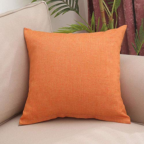 ZJDK Cushion Covers Solid Color Linen Home Car Pillow Sofa Cushion Office Pillow-Warm Orange_50 * 50Cm (Including Core)
