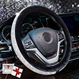 Alusbell Crystal Diamond Steering Wheel Cover Soft Velvet Feel Bling Steering Wheel Cover for Women Universal 15 inch Plush Wheel Cover for Escape Fusion Focus Accord Prius Rav4 Black