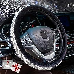 Crystal Diamond Black Steering Wheel Cover Universal 15 inch