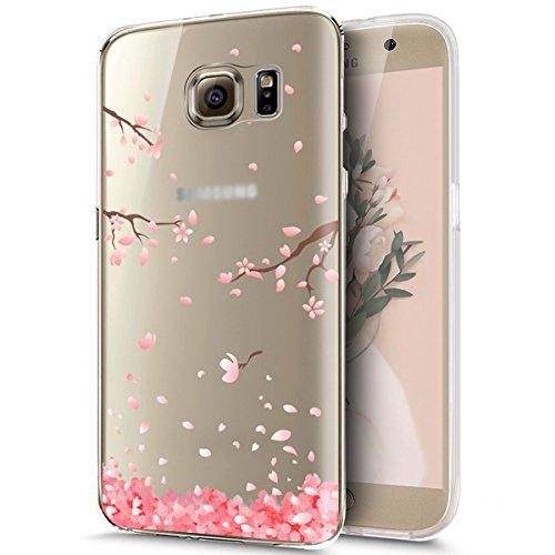 Galaxy S7 Funda,Surakey Funda Transparente Suave Tpu Gel Ultra Fina Protección A Bordes Y Cámara Silicona Bumper Crystal Móvil Ultrafina Funda para Samsung Galaxy S7,Flores de Cerezo #1