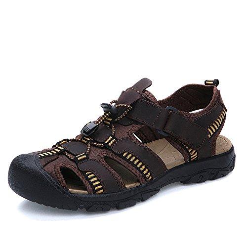YANGFAN Zapatos de Cuero, Zapatos Casuales, Trabajo, al ai Sandalias para Hombre, Playa de Verano Cuero de Vaca Transpirable, Velcro Feet MAX 48 (Color : Dark Brown, Size : 42 EU)