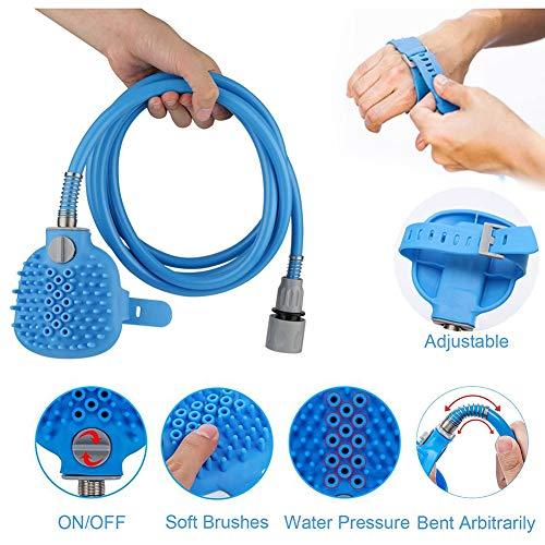 Bath Tool voor huisdieren met het verzorgen handschoen en massage handdoek als geschenk voor gebruik binnen en buiten,Blue