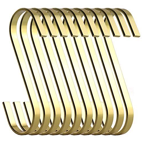 RuiLing 12-Pack 4.5 Inch Gold Chrome Finish Steel Hanging Flat Hooks - S Shaped Hook Heavy-Duty S Hooks, for Kitchenware, Pots, Utensils, Plants, Towels, Gardening Tools, Clothes