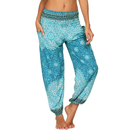 Nuofengkudu Mujer Yoga Pantalones Harem Tailandes Hippies Baggy Vintage Boho Flores Verano Alta Cintura Elastica Casual Danza Pilates Pantalon Pants Bombachos(W-Azul Floral,Talla única)