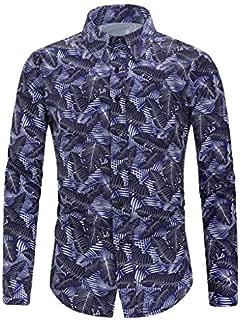 Mens Luxury Design Print Fashion Slim Fit Dress Shirt Long Sleeve Hawaiian Tropical Party Button Down Shirt