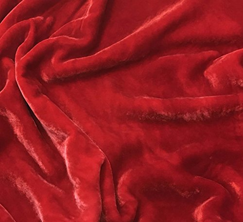 """Hand Dyed Silk Velvet Fabric -fat 1/4 18""""x22""""- (Scarlet Red)"""