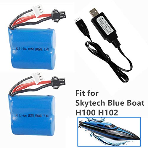 7.4v 600mah li-ion Battery for Skytech Blue Boat H100 H102 H106 RC Ship Syma Q2 Q3 H100 Battery 2 Pack with USB Charging Cable