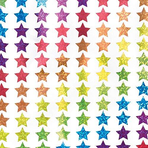 Baker Ross Mini holographische Sterne Aufkleber (400 Stück) Sticker Basteln für Kinder