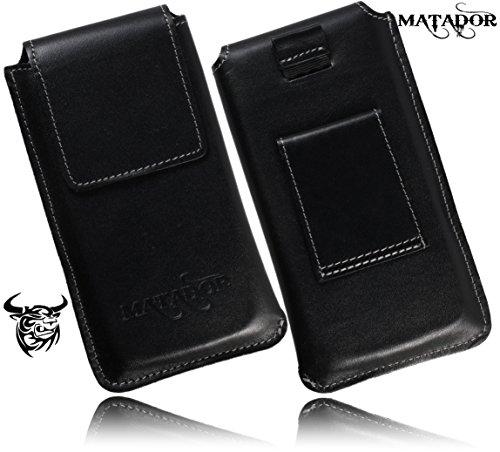 Slim Design Echt Ledertasche von Matador für BQ Aquaris X5 Cyanogen Edition Handytasche Vintage Style Hülle Schutz Etui Vertikaltasche mit verdecktem Magnetverschluß & Gürtelschlaufe (Side Black)