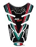 Protector de depósito 3D – 500220 – Bandera de Italia / Moto GP / Racing – universal para depósitos Yamaha, Honda, Ducati, Suzuki, Kawasaki, KTM, BMW, Triumph y Aprilia