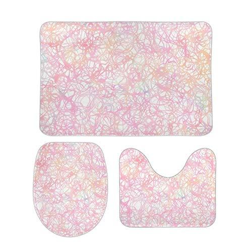 Juego de alfombras de baño RedBeans antideslizantes de 3 piezas de franela, coloridas cuerdas, pedestal suave, antideslizante, alfombrilla de ducha para inodoro