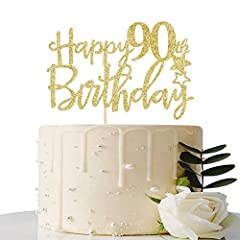 The cake top can be reused. 90th birthday party decoration design The perfect decoration of your cake can also be used as a studio prop. Celebrate the anniversary or birthday, beautiful cakes make your party perfect. Add luster to your birthday or an...