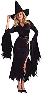 Sexy Witch Halloween Costumes for Women Bodycon Bell Sleeve Split Maxi Dresses with Hat and Waistband Vintage Halloween Masquerade Cosplay Party Stage Dress up Accessories