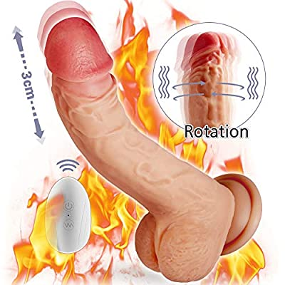 Realistic Vibrating Dildo G-spot Vibrator with Rotation, Recharge Waterproof Telescopic Penis with Suction Cup and Remote Control, Fondlove Vagina and Anal Stimulation Sex Toy for Women and Couple