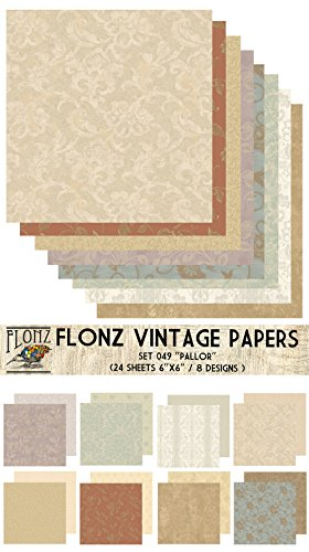 Flonz Paper Pack (24blatt 15x15cm) Pallor Vintage Muster Papier fur Scrapbooking und Handwerk