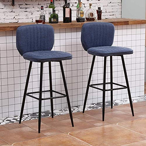 N/Z Daily Equipment Stools Industrielle Barhocker mit Fester Höhe Shell PU Leder Barhocker Stühle mit Rückenlehne und Fußstütze Frühstücksbar Küchenbarhocker Stühle (blaues 2er-Set)